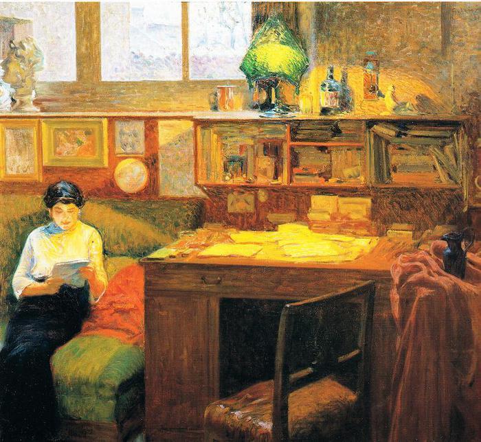 Giorgio Kienerk 'Sotto la lampada'